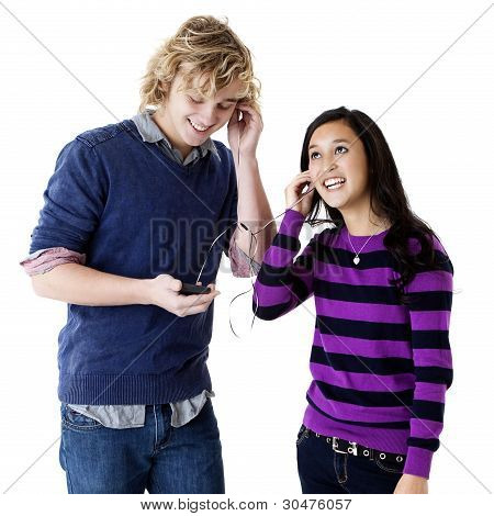 happy teens listening to music