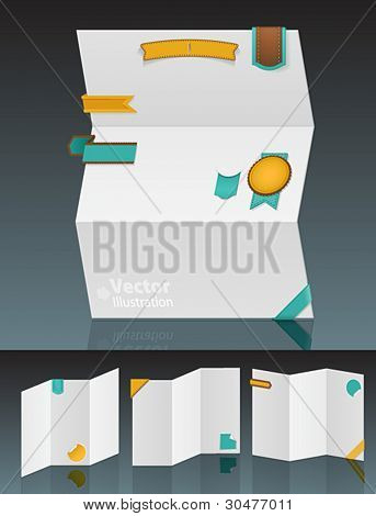 Set of white blank menus with stickers. Vector illustration.