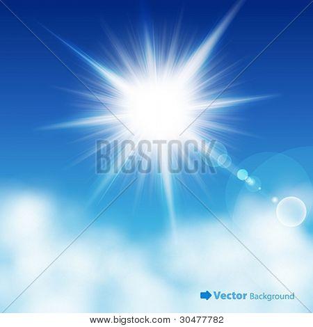 El sol en el cielo azul. Ilustración del vector.