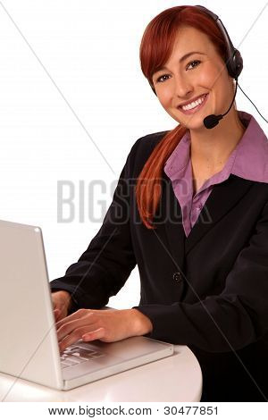 customer support agent with headset red hair