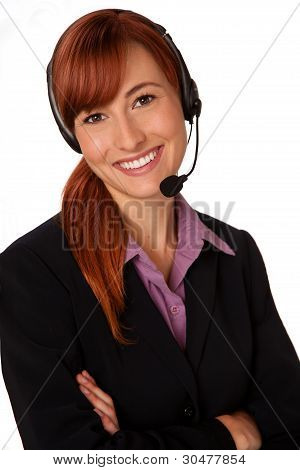 customer support agent with headset and a smile