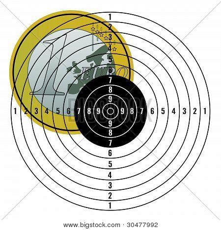 Euro On Target Vector Illustration