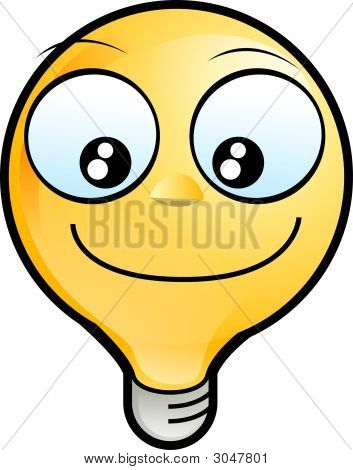 Lighting Bulb Icon - Smiling