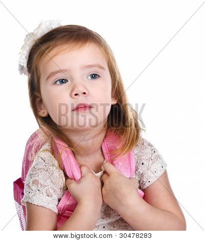 Portrait Of Little Girl With A Backpack