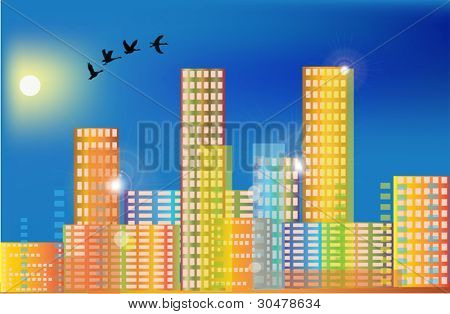 illustration with birds above rainbow color city