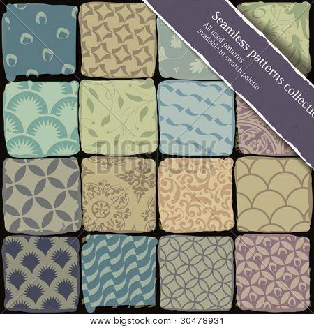 Colección de patrones sin fisuras. Todos utilizan patrones disponibles en la paleta de swatch. Vector, EPS10