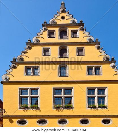 Half Timbered House In Old Romantic Medieval Town Of Dinkelsbuehl In Bavaria, Germay.