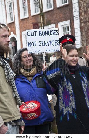 Occupy Exeter activists listens to the speaches during Occupy Exeter leaving celebration