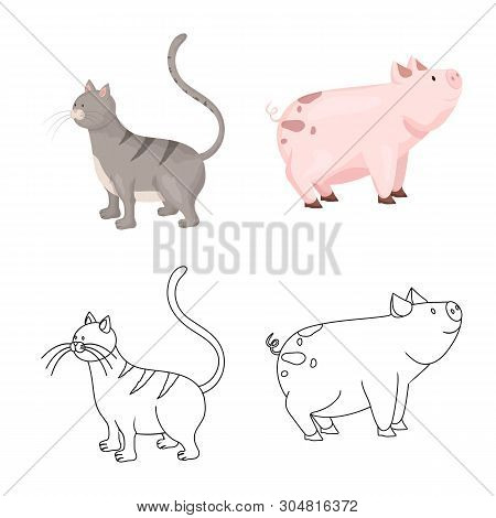poster of Isolated Object Of Breeding And Kitchen  Icon. Collection Of Breeding And Organic  Stock Symbol For