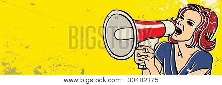 retro woman with megaphone vector illustration