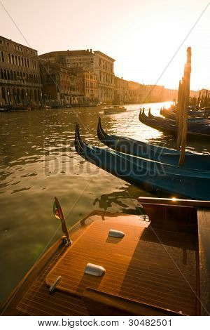 Gondolas At Sunset In Venice