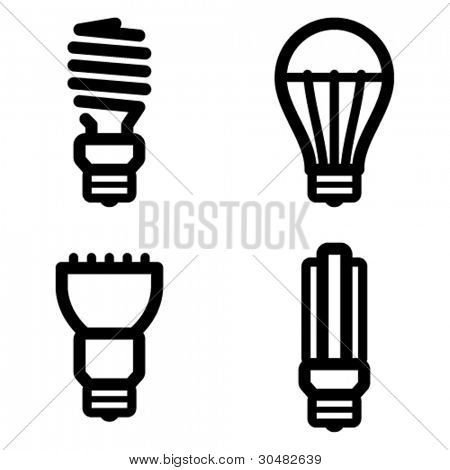 Vector icon set of energy saving and LED light bulbs