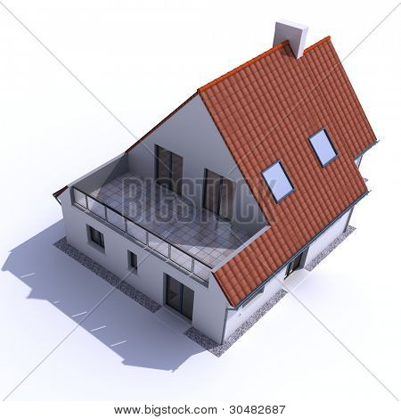 3D architecture model of a house, aerial view