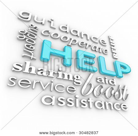 The word Help and many related words such as service, support, aid, cooperate, boost, assistance, guidance and more as a background of encouraging phrases