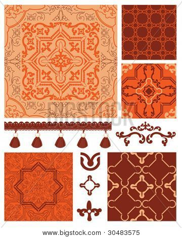 Moroccan inspired textile patterns and elements.  Use to create striking patchwork quilts or craft projects.  All patterns are seamless repeat vectors.