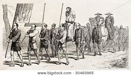 Carrying condemned man to punishment. Created by Crepon, published on Le Tour Du Monde, Ed. Hachette, Paris, 1867