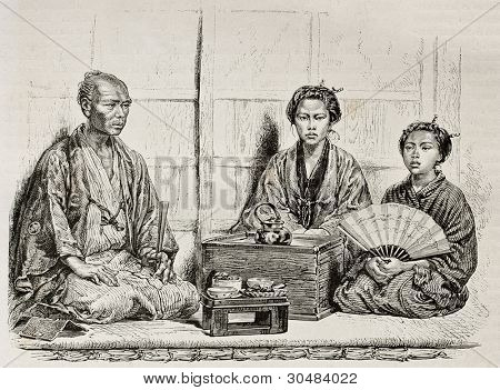 Japanese family in traditional clothing. Created by Neuville after photo of unknown author, published on Le Tour Du Monde, Ed. Hachette, Paris, 1867