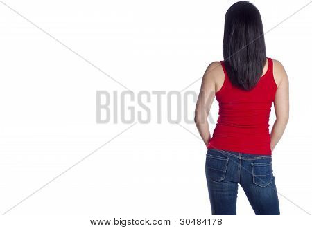 Back of a Rare View of a Woman Wearing Blue Jeans and Red Tank Top