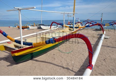 Bali Fishing Boat On The Beach At Sanur, Indonesia.