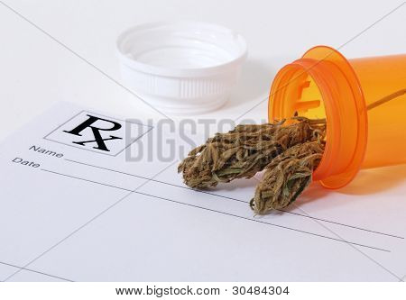 Cannabis Bud in pill bottle