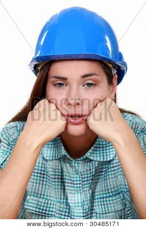 Portrait  of a female laborer exhausted
