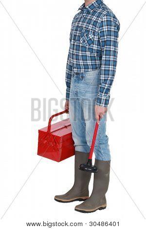 A beheaded plumber.