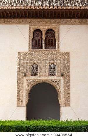 Court Of Myrtles Detail In The Alhambra Palace Granada