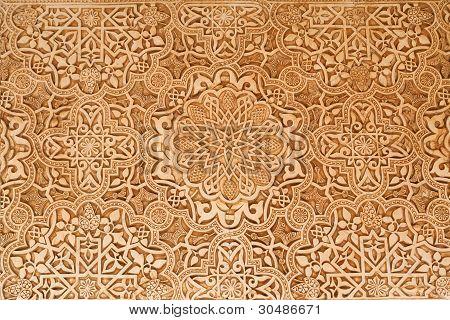 Patio de los leones yeso detalle de la Alhambra