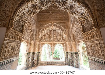 Patio Of The Lions Room Detail From The Alhambra Palace