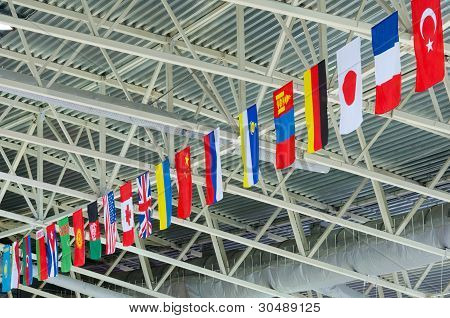 State Flags Under Stadium Ceiling