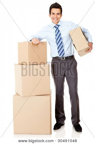 Businessman moving office and packing in boxes �?�¢?? isolated
