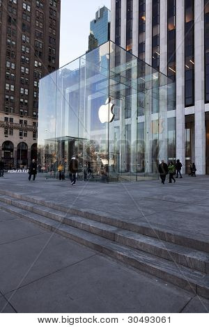 Renovated Apple Computer Store Glass Cube In New York City, On January 9, 2012