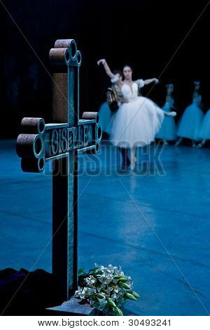 PRAGUE, CZECH REPUBLIC - APRIL 6: The Prague State Opera ballet ensemble presents the traditional version of Giselle on April 6, 2011 in Prague. Czech Republic.