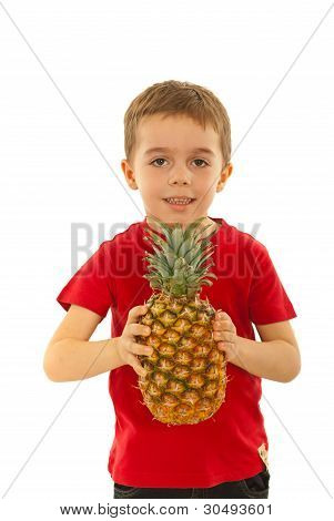 Kid Boy Holding Big Pineapple