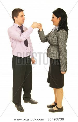 Successful Teamwork Fist In Fist