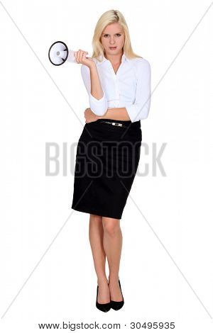 Blonde woman speaker