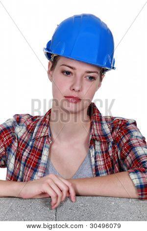craftswoman looking sad