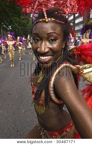 Dancer From The London School Of Samba Float At The Notting Hill Carnival
