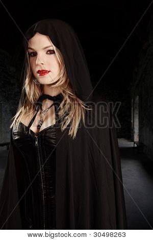 Female Vampire In Hooded Cape