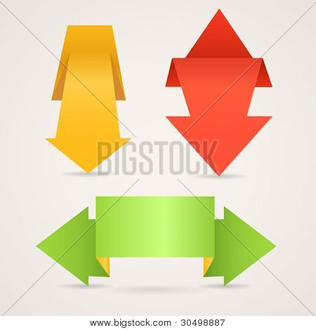 Colorful polygonal origami arrow banners. Place your text here