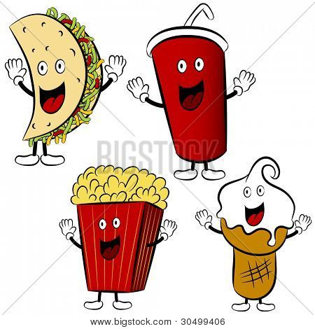 An image of a fast food items - cartoon style.