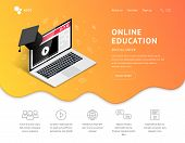 Online Education Landing Page Design Concept. Online Learning, Webinar, Distance Education, E-learni poster