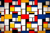 Bright Colorful Painting In Piet Mondrians Style, Artistic Background poster