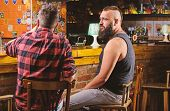 Friday Relaxation In Bar. Friends Relaxing In Bar Or Pub. Hipster Bearded Man Spend Leisure With Fri poster