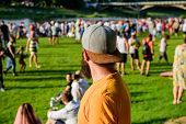 Hipster In Cap Happy Celebrate Event Fest Or Festival. Summer Fest. Man Bearded Hipster In Front Of  poster