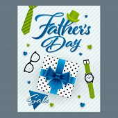 Fathers Day Sale Banner. Gift Box, Necktie, Watch, Eyeglasses And Promotion Message On Vertical Back poster