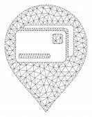 Mesh Bank Cards Pointer Model Icon. Wire Carcass Polygonal Mesh Of Vector Bank Cards Pointer Isolate poster