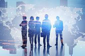 Diverse Team Of Business People Standing Over Night Cityscape Background With World Map. Concept Of  poster