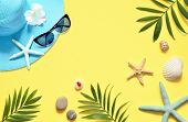 Tropical Background. Palm Trees Branches With Starfish And Seashell On Yellow Background. Travel. Co poster