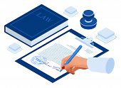 Isometric Signed A Contract With A Stamp. Document With A Signature. The Form Of The Document. Busin poster